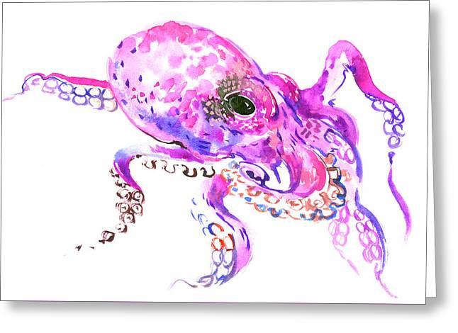 Pink Purple Octopus Greeting Card by Suren Nersisyan