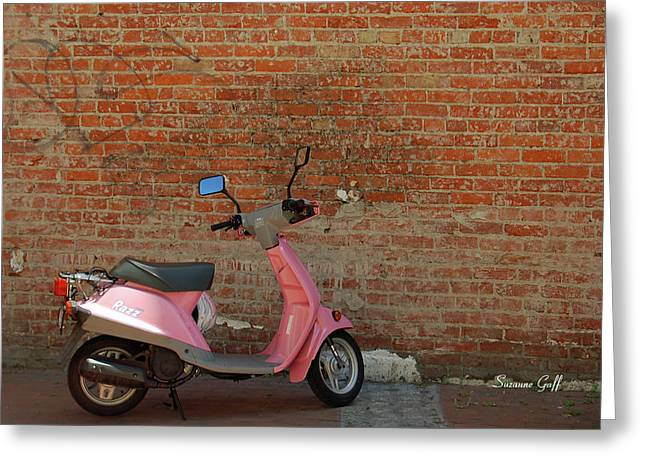 Motor Scooters Greeting Cards - Pink Razz Greeting Card by Suzanne Gaff