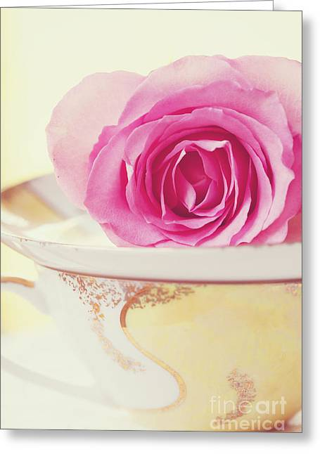 Girlie Greeting Cards - Pink Rose and Teacup Greeting Card by Kim Fearheiley