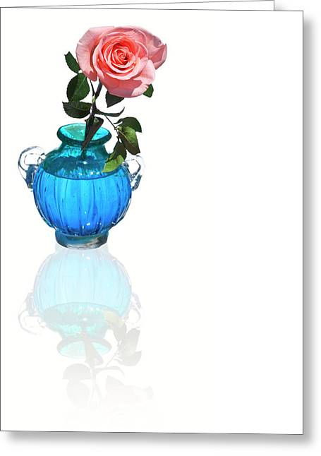 Rosette Greeting Cards - Pink Rose in vase Greeting Card by Al Hurley