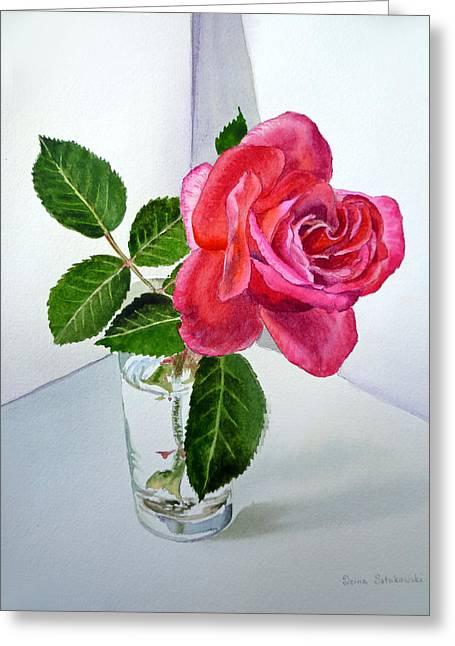 Pink Rose Greeting Card by Irina Sztukowski