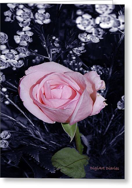 Imperfect Greeting Cards - Pink Rose of Imperfection Greeting Card by DigiArt Diaries by Vicky B Fuller