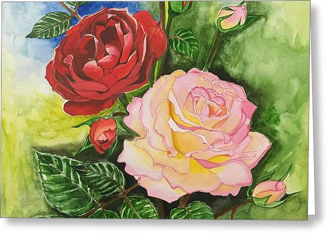 Pairs Greeting Cards - Pink Rose with Red Rose Greeting Card by Pushpa Sharma
