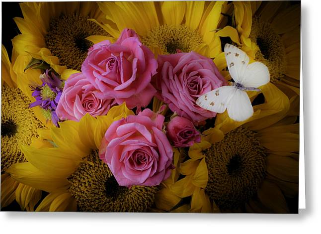 Pink Roses And Sunflowers Greeting Card by Garry Gay
