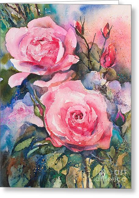 Kate Bedell Greeting Cards - Pink Roses Greeting Card by Kate Bedell
