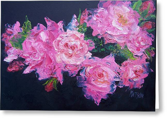 Bedroom Art Paintings Greeting Cards - Pink Roses oil painting Greeting Card by Jan Matson
