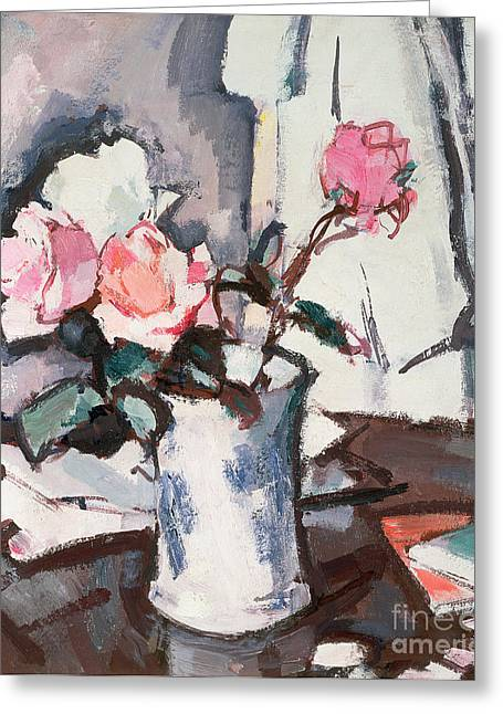 Water Jug Greeting Cards - Pink Roses Greeting Card by Samuel John Peploe
