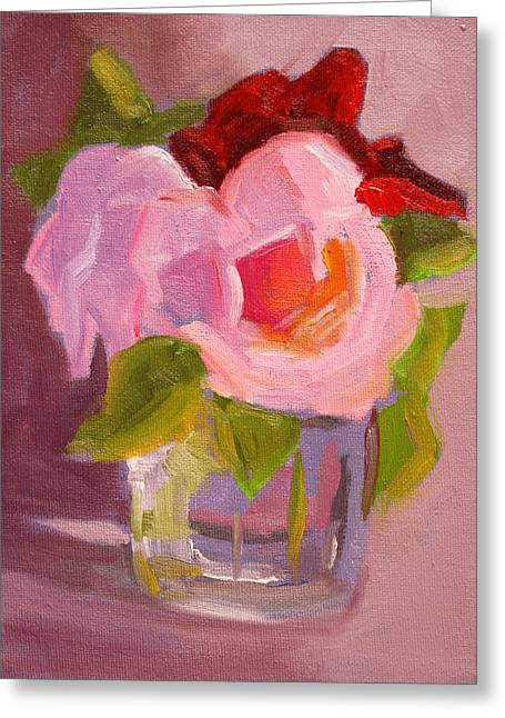 Glass Vase Greeting Cards - Pink Roses Still Life Painting Greeting Card by Nancy Merkle