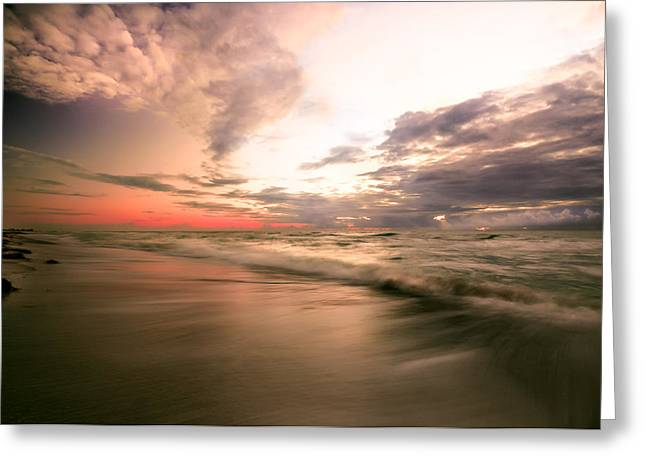 Reflection Of Sun In Clouds Greeting Cards - Pink seashore sunrise Greeting Card by Gene Camarco