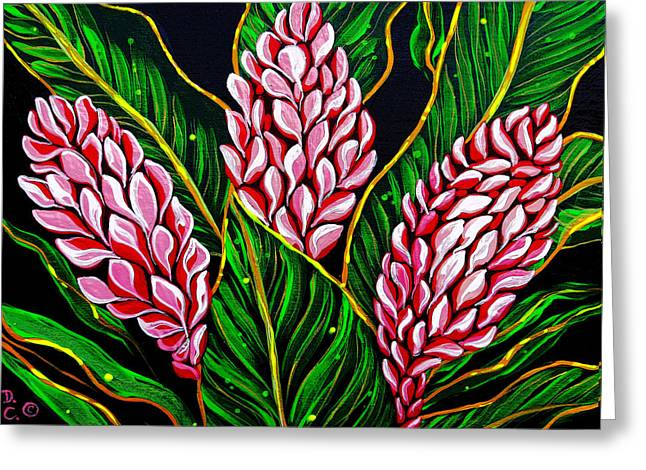 Debbie Chamberlin Greeting Cards - Pink Shell Ginger Greeting Card by Debbie Chamberlin