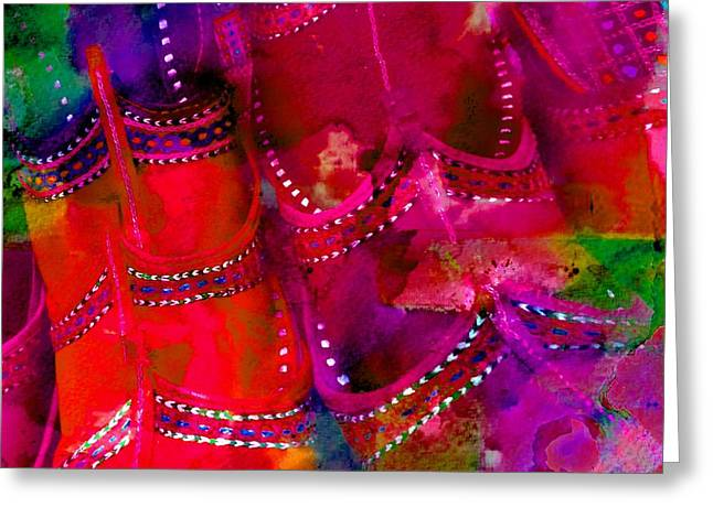 Apparel Greeting Cards - Pink Shoes Shopping is Fun Colorful Square Abstract 4b Greeting Card by Sue Jacobi