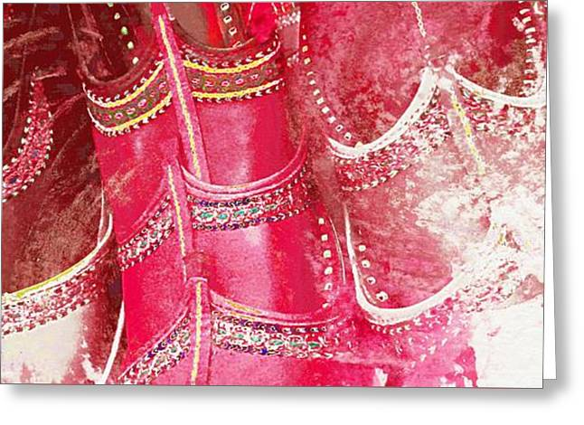 Apparel Greeting Cards - Pink Shoes Shopping is Fun Colorful Wide Abstract Watercolor 4c Greeting Card by Sue Jacobi