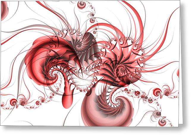 Fractal Greeting Cards - Pink Shrimp Greeting Card by David April
