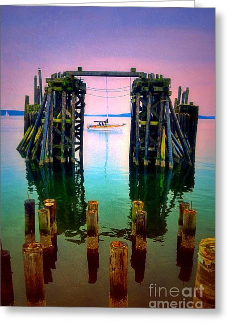 Moss Man Greeting Cards - Pink Skies in Port Townsend Greeting Card by Tara Turner