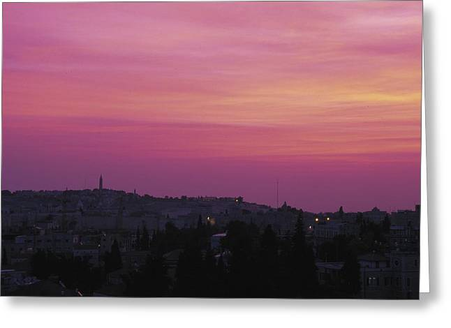 Beauty Greeting Cards - Pink Sky Above Urban Landscape Greeting Card by Gillham Studios