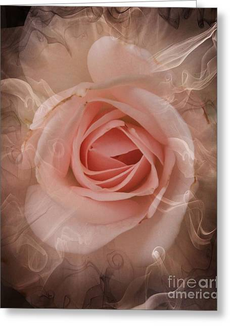 Recently Sold -  - Flower Design Greeting Cards - Pink Smokey Greeting Card by Clare Bevan