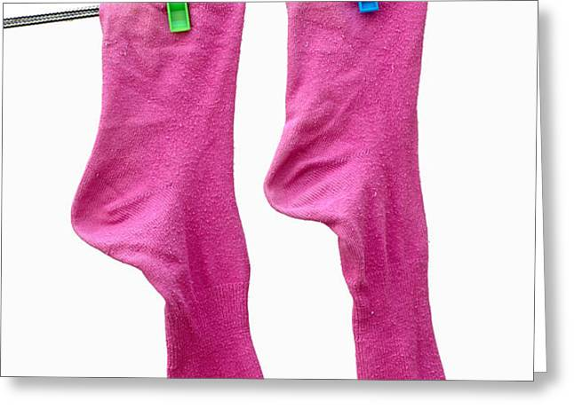 Pink Socks Greeting Card by Frank Tschakert