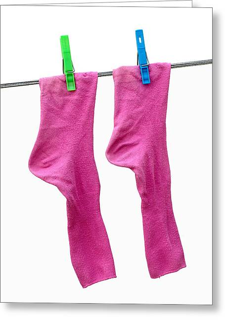 Brightly Colored Greeting Cards - Pink Socks Greeting Card by Frank Tschakert