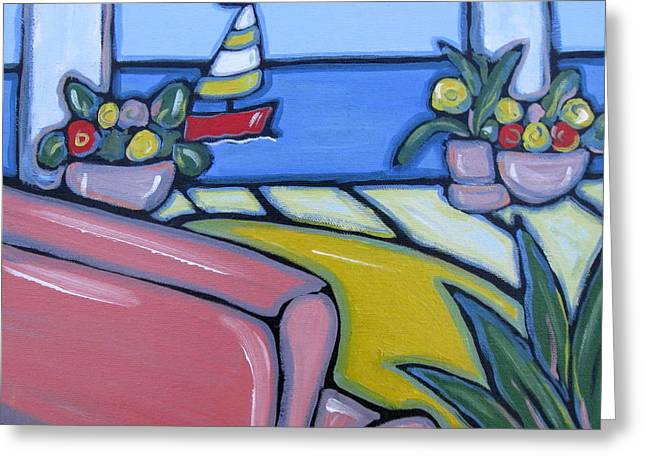 Yellow Sailboats Greeting Cards - Pink Sofa Greeting Card by Brooke Baxter Howie