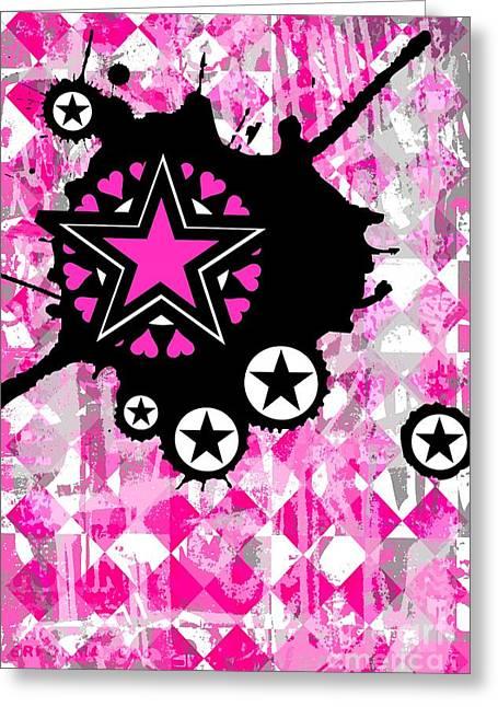 Roseanne Jones Greeting Cards - Pink Star Splatter Greeting Card by Roseanne Jones