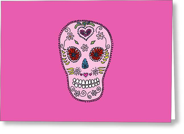 Pink Sugar Skull Greeting Card by Edward Fielding