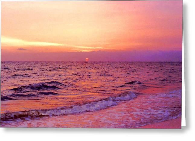 Ocean Shore Mixed Media Greeting Cards - Pink Sunrise Greeting Card by Kristin Elmquist