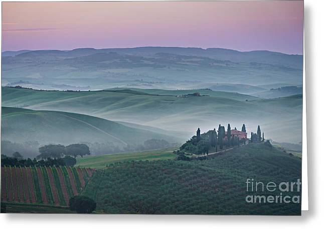 Italian Sunset Greeting Cards - Pink sunrise over Podere il Belvedere in Tuscany Greeting Card by IPics Photography