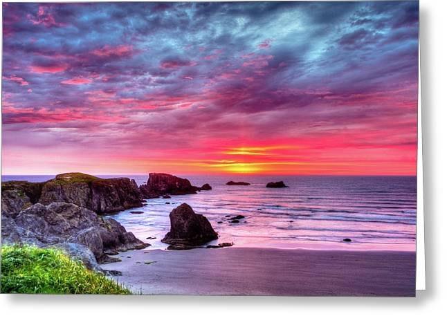 Pink Sunset Bandon Oregon Greeting Card by Connie Cooper-Edwards