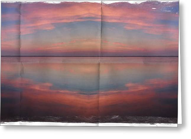 Ocean. Reflection Greeting Cards - Pink Sunset Greeting Card by Jeff Breiman