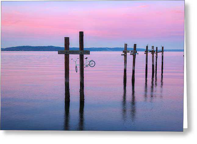 Commencement Bay Greeting Cards - Pink Sunset Greeting Card by Ryan Manuel