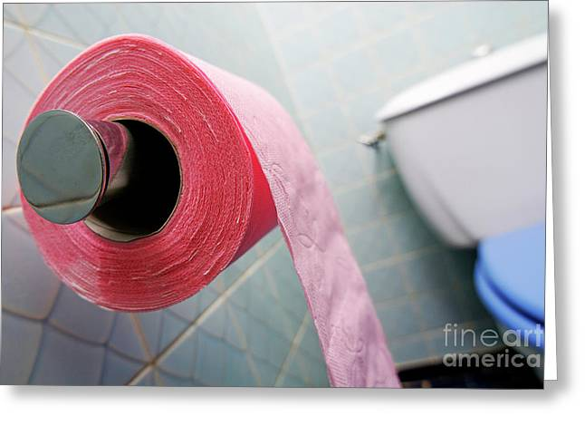 Toilet Roll Holder Greeting Cards - Pink toilet roll on holder in bathroom Greeting Card by Sami Sarkis