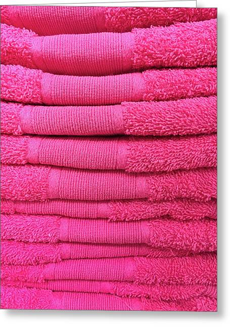 Pink Towels Greeting Card by Tom Gowanlock