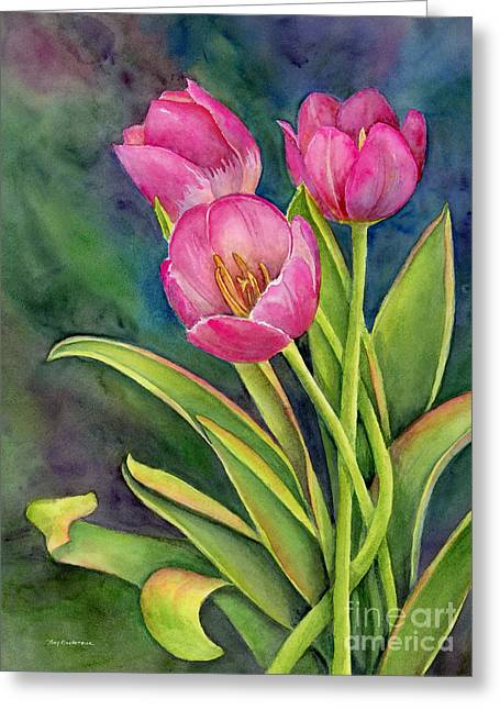 Twisting Greeting Cards - Pink Tulip Twist Greeting Card by Amy Kirkpatrick