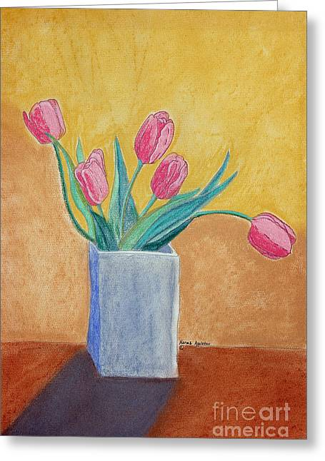 Pink Tulips Greeting Card by Norma Appleton