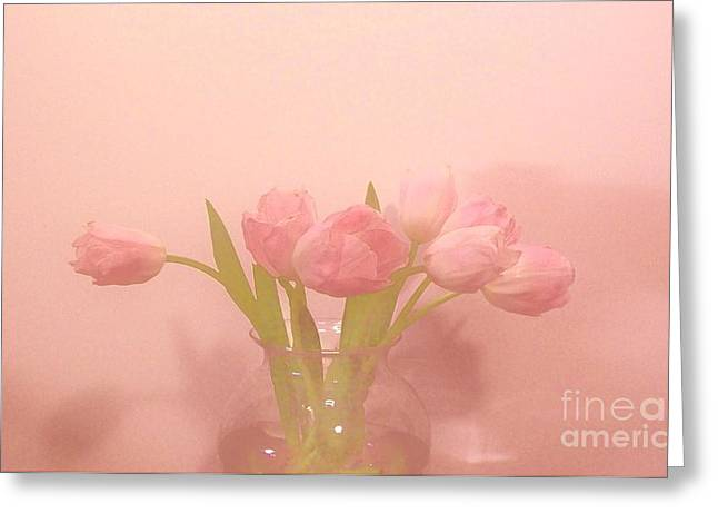 Pink Tulips on Pink Greeting Card by Marsha Heiken