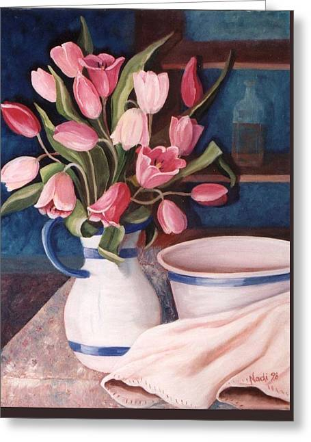 Ewer Paintings Greeting Cards - Pink Tulips Greeting Card by Renate Nadi Wesley