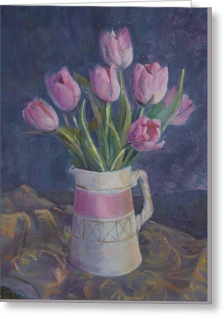 Pink Tulips Greeting Card by Sue Wales