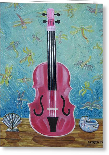 Johnkeaton Greeting Cards - Pink Violin with Fireflies and Shells Still Life Greeting Card by John Keaton