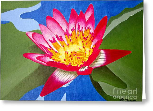 Coloured Greeting Cards - Pink Water Lily Greeting Card by Sharon Patterson