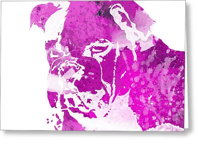 Bully Mixed Media Greeting Cards - Pink Watercolor Bulldog Greeting Card by Joseph Dollison