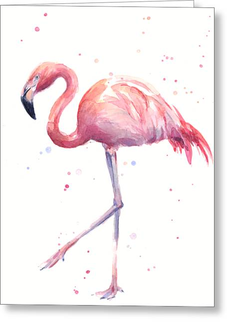 Pink Watercolor Flamingo Greeting Card by Olga Shvartsur