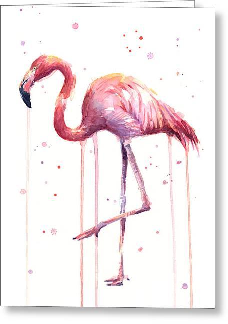 Pink Watercolor Flamingo Greeting Card by Olga Shvartsur