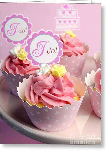 Sign. Cupcakes Greeting Cards - Pink wedding cupcakes  Greeting Card by Milleflore Images