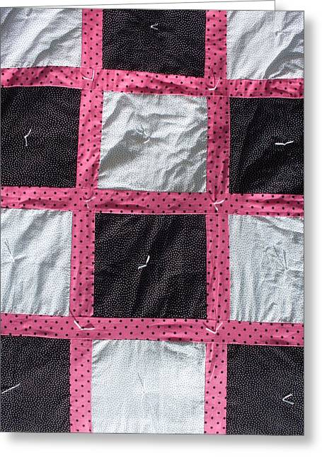 Dot Tapestries - Textiles Greeting Cards - Pink White and Black Dot Quilt Greeting Card by Brianna Emily Thompson