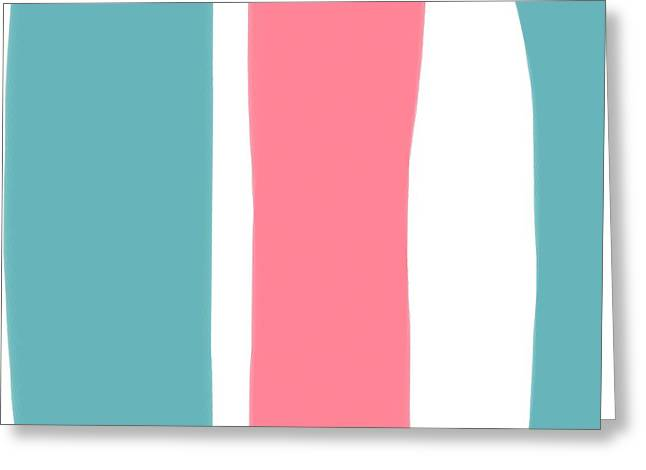 Pink Digital Greeting Cards - Pink White Blue 2 Greeting Card by Bonnie Bruno