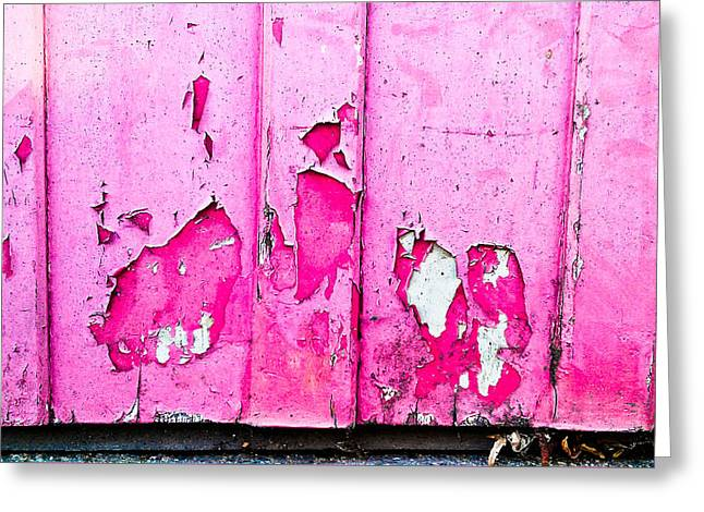 Pink Wood With Peeling Paint  Greeting Card by Tom Gowanlock