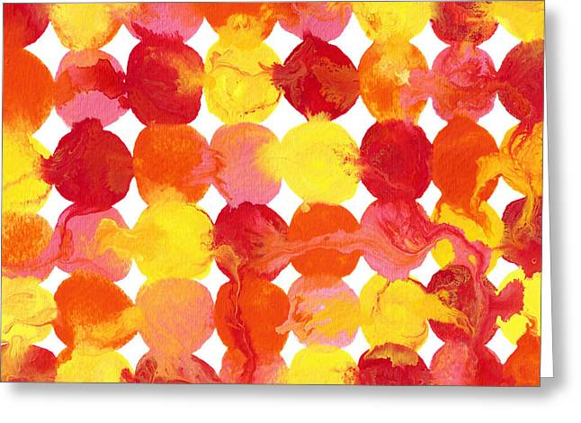 Pink Yellow Red Orange Flowing Paint Circle Pattern 2 Greeting Card by Amy Vangsgard