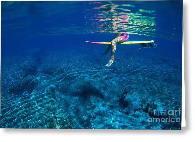 Surfing Art Greeting Cards - Pink & Yellow Surfboard Greeting Card by Ali ONeal - Printscapes