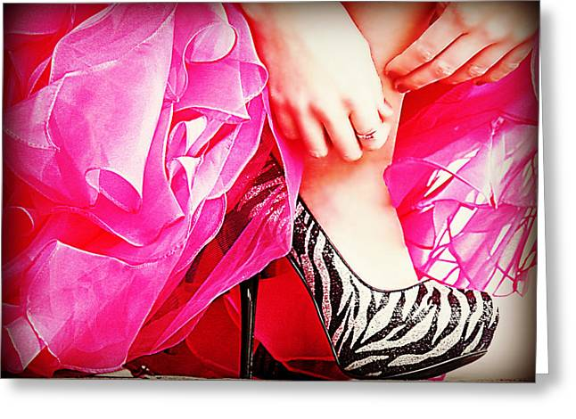 Silver Dress Greeting Cards - Pink Zebra Greeting Card by Corrie Knerr