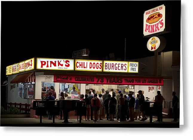 Night Cafe Greeting Cards - Pinks Hot Dogs Of Hollywood Greeting Card by Mountain Dreams